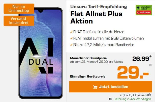 Huawei Mate 20 + Vodafone Flat Allnet Plus (mobilcom-debitel) bei MediaMarkt