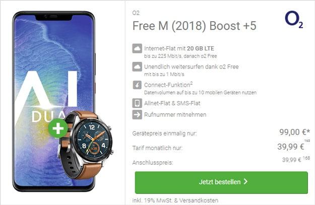 Huawei Mate 20 Pro + Huawei Watch GT Classic + o2 Free M Boost bei DeinHandy