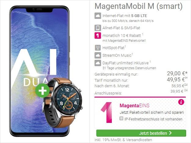 Huawei Mate 20 Pro + Huawei Watch GT Classic + Telekom Magenta Mobil M bei DeinHandy
