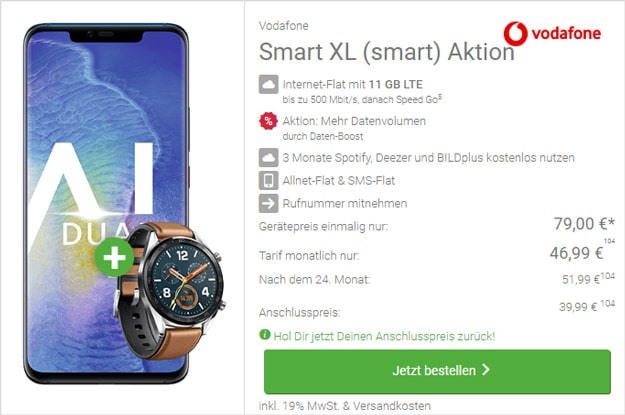 Huawei Mate 20 Pro + Huawei Watch GT Classic + Vodafone Smart XL bei DeinHandy