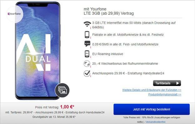 Huawei Mate 20 Pro + yourfone LTE 3 GB bei Handydealer24