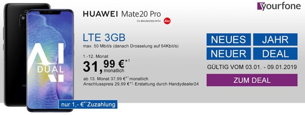 Huawei Mate 20 Pro + yourfone LTE 3 GB bei Handydealer24