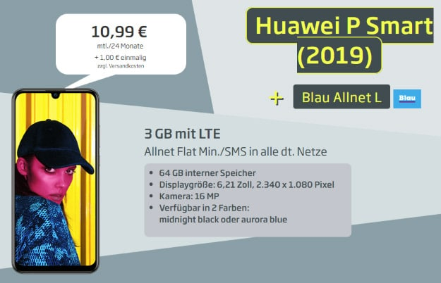 Huawei P Smart (2019) + Blau Allnet L bei Curved