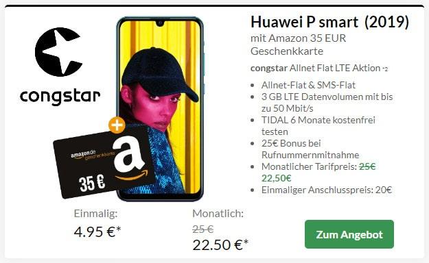 Huawei P Smart (2019) + congstar Allnet Flat Speed bei Preisboerse24