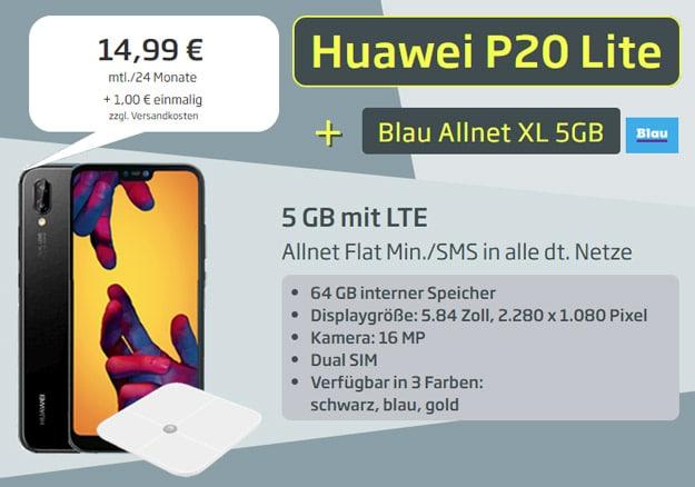 Huawei P20 lite + Huawei AH100 Waage + Blau Allnet XL bei Curved