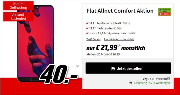 Huawei P20 Pro + Vodafone Flat Allnet Comfort (mobilcom-debitel) bei MediaMarkt