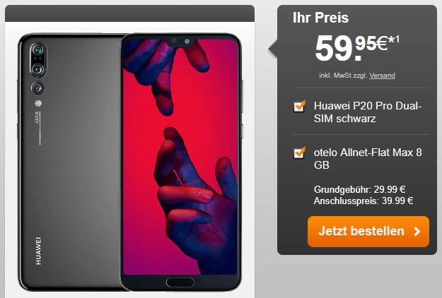 Huawei P20 Pro + otelo Allnet-Flat Max bei Handyflash