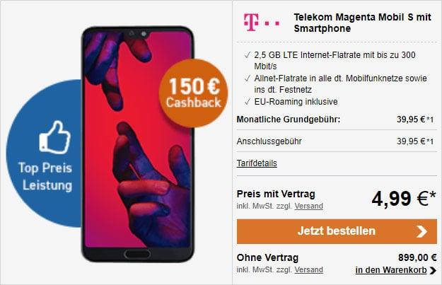 Huawei P20 Pro + 150 € Cashback + Telekom Magenta Mobil S bei LogiTel