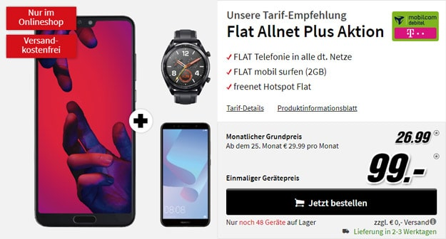 Huawei P20 Pro + Huawei Watch GT Sport + Huawei Y6 (2018) + mobilcom-debitel Flat Allnet Plus (Telekom-Netz) bei MediaMarkt