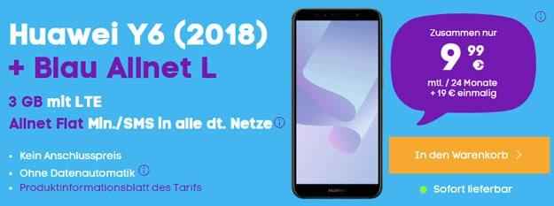 Huawei Y6 (2018) + Blau Allnet L bei Blau