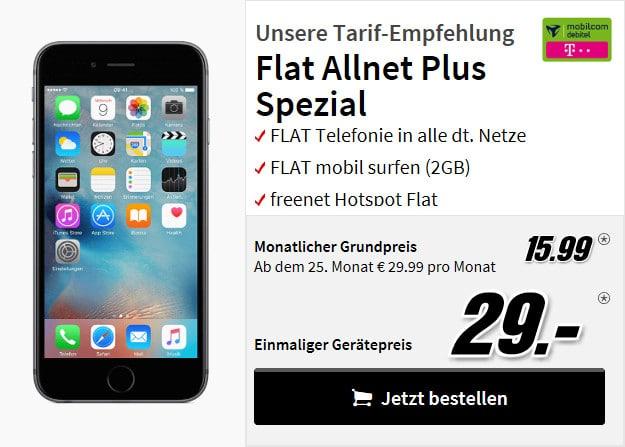 iphone 6s + flat allnet comfort telekom