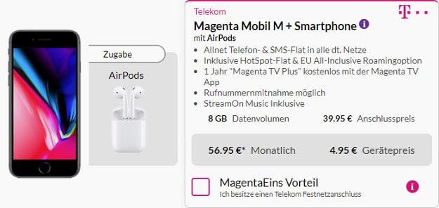 iphone 8 + airpods + telekom magenta mobil m