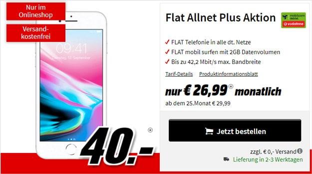 Apple iPhone 8 + Vodafone Flat Allnet Plus (mobilcom-debitel) bei MediaMarkt