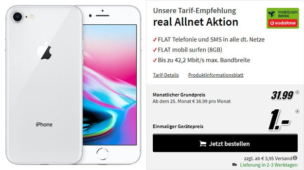 iPhone 8 + Vodafone real Allnet (mobilcom-debitel) bei MediaMarkt