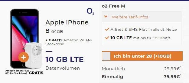 iphone 8 + o2 free m + amazon steckdose