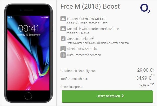 iphone 8 + o2 free m boost