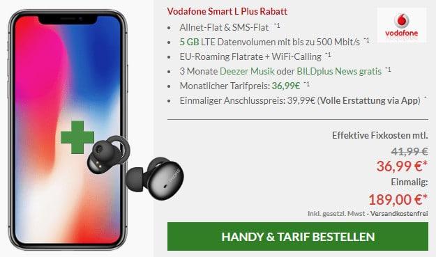 iphone x + headset + vodafone smart l plus