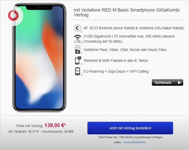 iphone x vodafone red m gigakombi