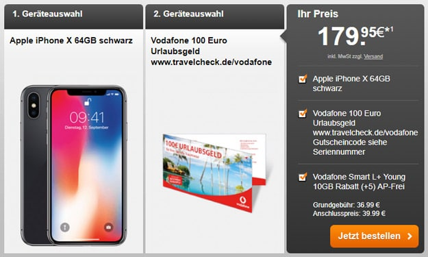 iPhone X 64GB + Vodafone Smart L Plus + 100 € Reisegutschein bei Handyflash