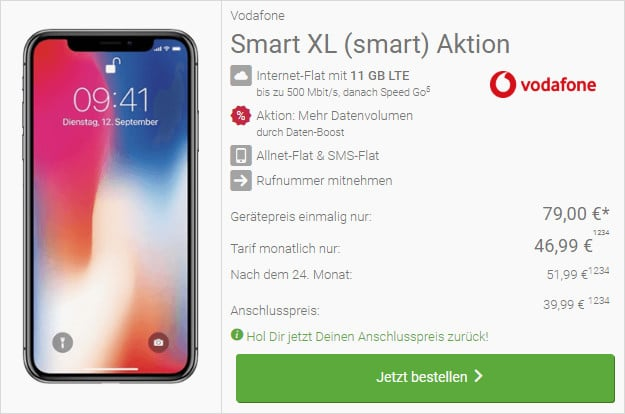 iphone x vodafone smart xl 11 gb lte
