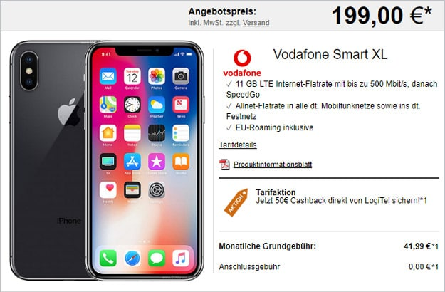 iPhone X 64GB + Vodafone Smart XL + 50 € Cashback bei LogiTel