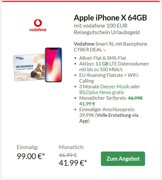 iPhone X + Vodafone Smart XL + 100 € Reisegutschein bei Preisboerse24