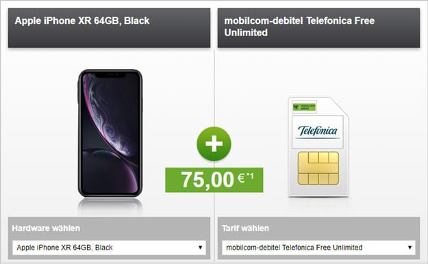 iPhone Xr + o2 Free Unlimited (mobilcom-debitel) bei modeo