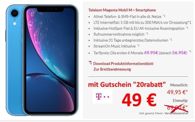 iPhone Xr + Telekom Magenta Mobil M bei Preisboerse24