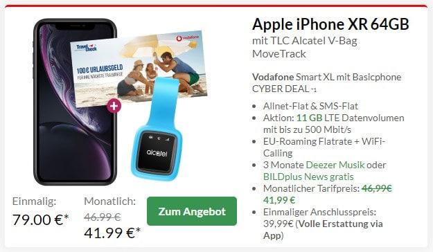 Apple iPhone Xr + Alcatel MoveTrack GPS-Tracker + Vodafone Smart XL bei Preisboerse24