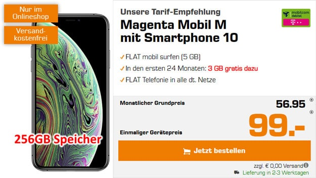 Apple iPhone Xs 256GB + mobilcom-debitel Magenta Mobil M (Telekom-Netz) bei Saturn