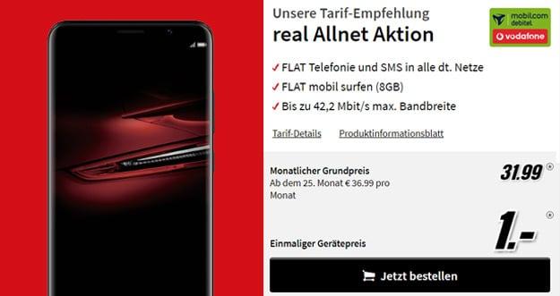 uawei Mate RS + Vodafone Real Allnet (mobilcom-debitel) eff. kostenlos (Allnet-Flat, SMS-Flat, 8 GB) - 120 € Ersparnis!