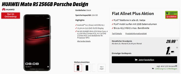 Wahnsinn! Huawei Mate RS + Vodafone Flat Allnet Comfort (mobilcom-debitel) eff. kostenlos (Allnet-Flat, 2 GB) - mit satten 236 € Ersparnis!