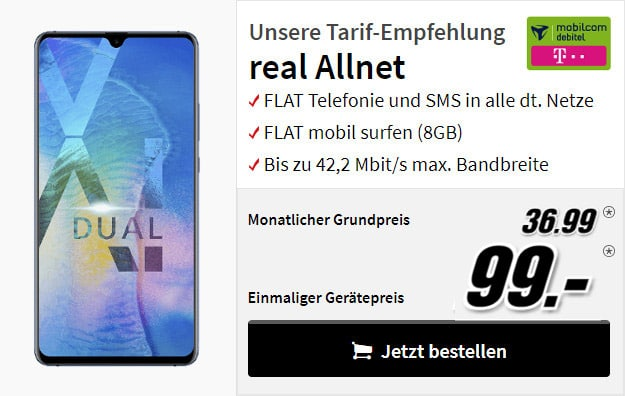 Huawei Mate 20X + mobilcom-debitel real Allnet Telekom-Netz