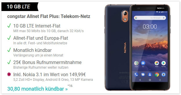 Nokia 3.1 + congstar Allnet Flat Plus Speed Flex bei Handy.de