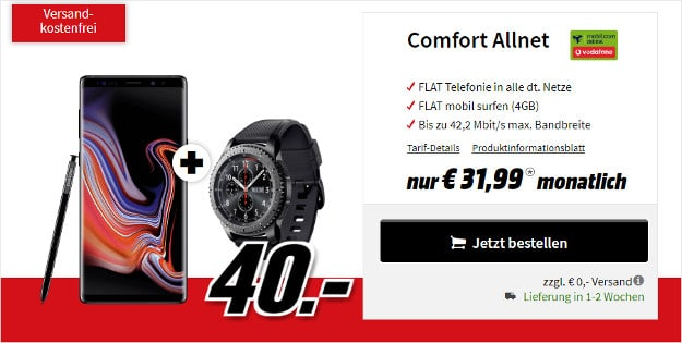 note 9 + gear s3 + vodafone comfort allnet md