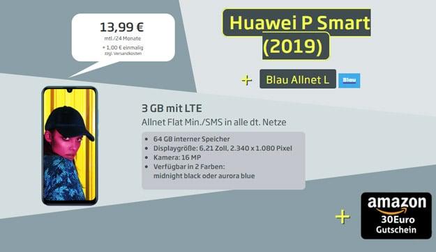 Huawei P Smart 2019 mit Allnet-Flat 3 GB LTE und 30 € Amazon-Gutschein