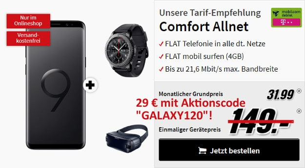s9 plus + gear s3 + dex + comfort allnet md telekom