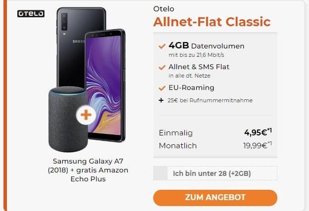 samsung galaxy a7 2018 + otelo allnet flat classic