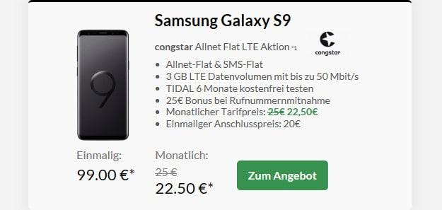 samsung galaxy s9 + congstar allnet