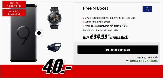 samsung galaxy s9 plus + galaxy watch + gear vr + o2 free m boost