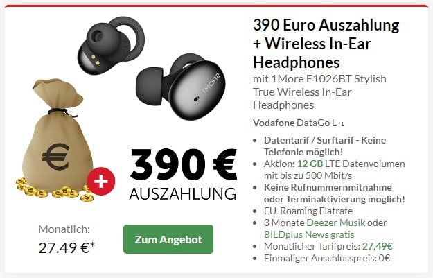 Vodafone DataGo L + 390 € Cashback + 1More Stylish True Wireless bei Preisboerse24