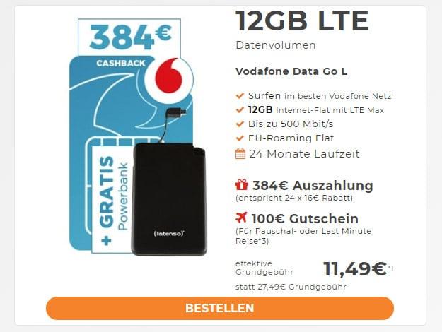 Vodafone DataGo L + 384 € Auszahlung bei Handyflash