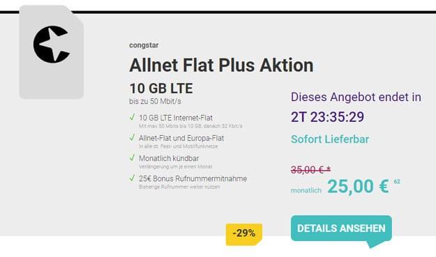 congstar Allnet Flat Plus 10 GB LTE im Telekom-Netz