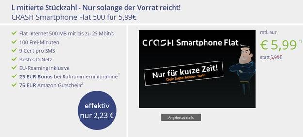 crash Smartphone Flat 500 bei Vitrado
