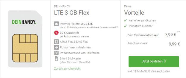 DeinHandy LTE 3 GB Flex (SIM-only) bei DeinHandy