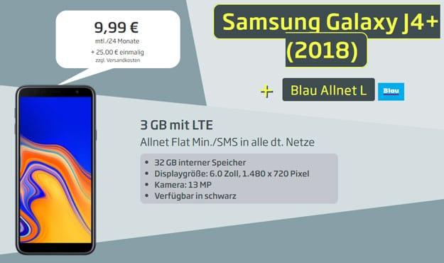 Samsung Galaxy J4 Plus + Blau Allnet L bei Curved