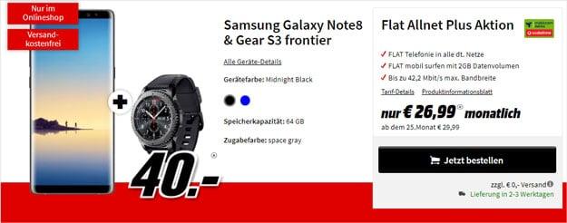 Samsung Galaxy Note 8 + Samsung Gear S3 Frontier + Vodafone Flat Allnet Plus (mobilcom-debitel) bei MediaMarkt