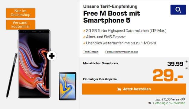 Samsung Galaxy Note 9 + Samsung Galaxy Tab A 10.5 + o2 Free M Boost bei Saturn