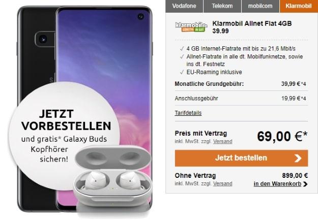 Samsung Galaxy S10 + klarmobil Allnet Flat 4000 (Vodafone-Netz) bei LogiTel
