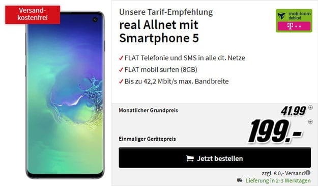 Samsung Galaxy S10 + Galaxy Buds + mobilcom-debitel real Allnet (Telekom-Netz) bei MediaMarkt